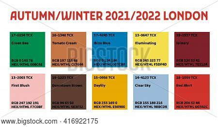 Fashion Color Trend Autumn Fall Winter 2021. Forecast Color Palette Of The Future Trendy Colors.  Sw