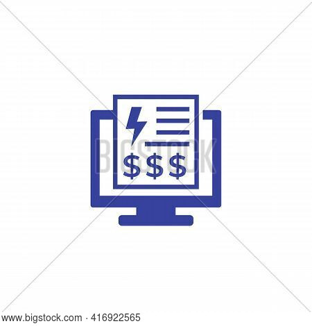 Electricity Bill Or Payment Icon On White
