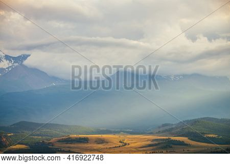 Scenic Alpine Landscape With Vast Plateau With Forest In Sunlight On Background Of Snowy Mountain Ri