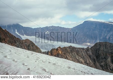 Awesome Mountain Scenery With Layers Of Rocks And Mountains With Snow And Glacier In High Altitude U