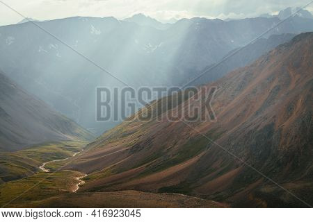 Scenic Mountain Landscape Of Motley Mountain Valley With River In Sun Rays. Wonderful Highland Scene