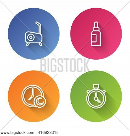 Set Line Stationary Bicycle, Essential Oil Bottle, Time To Sleep And Stopwatch. Color Circle Button.