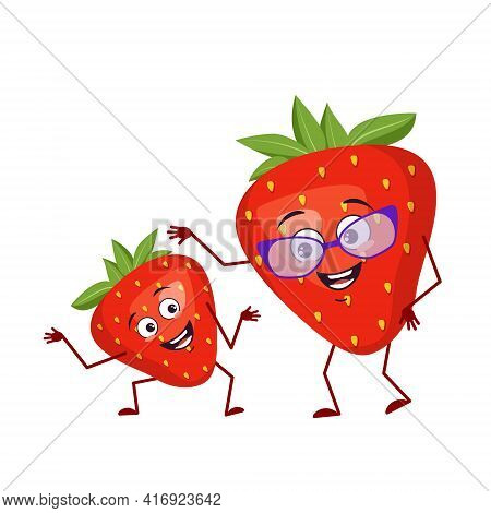 Cute Strawberry Character Funny Grandmother And Grandson, Arms And Legs. The Funny Or Sad Hero, Red