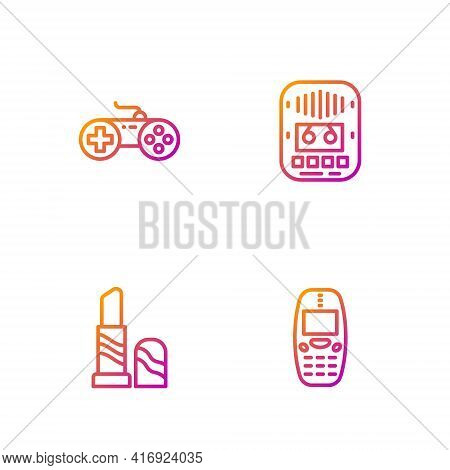 Set Line Old Mobile Phone, Lipstick, Gamepad And Cassette Tape Player. Gradient Color Icons. Vector