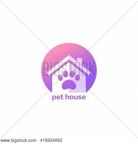 Pet House Logo, Paw And Home Icon