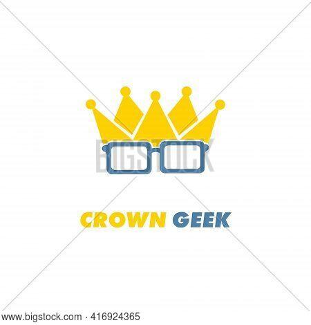 Crown Geek Logo Design Template Flat Style Vector