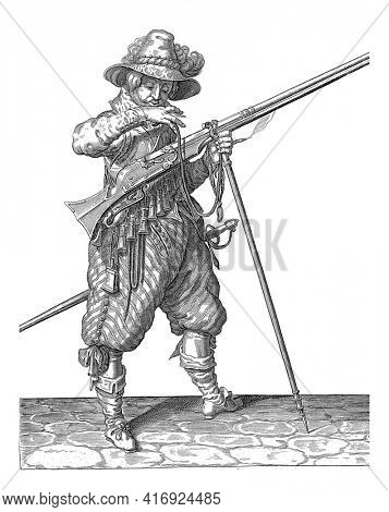 Soldier on Watch with a Musket Bringing His Wick to His Mouth to Blow It Clean, vintage engraving.