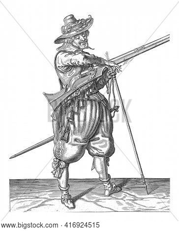 A Soldier on Guard, Full Length , to the right, holding a musket (a certain type of firearm) with his left hand by the fork of the furket (musket fork) on which the barrel rests, vintage engraving.