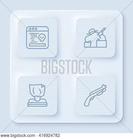 Set Line System Bug, Murder, Kidnaping And Police Shotgun. White Square Button. Vector