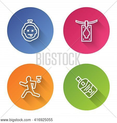 Set Line Murder, Money Laundering, And Whiskey Bottle. Color Circle Button. Vector