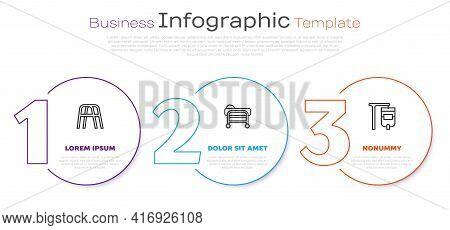 Set Line Walker, Stretcher And Iv Bag. Business Infographic Template. Vector