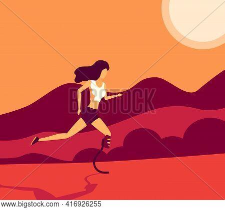 Running Girl With Prosthetic Leg, Vector Art