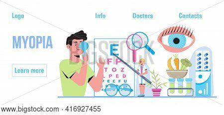 Conjunctivitis Concept Vector.eye Doctor Concept For Health Care Banner. Glaucoma Treatment Concept