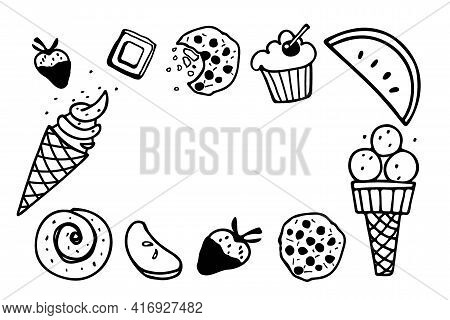 Frame With Different Kinds Of Desserts. Ice Cream, Pastries, Fruits, Sweetness. Calligraphy Backgrou
