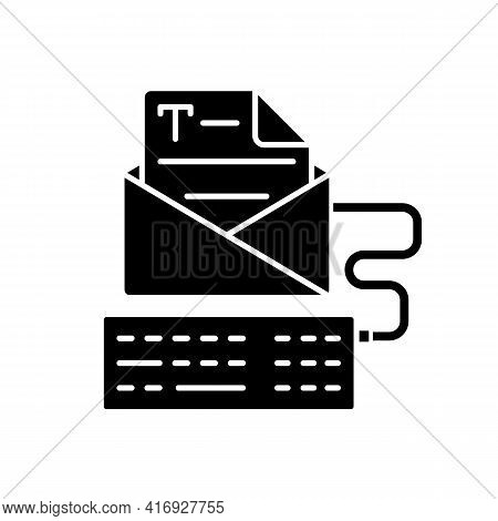 Newsletter Copywriting Black Glyph Icon. Copywriting Services. Typewriting, Typing With Keyboard. Pr