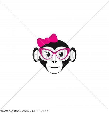 Cute Monkey Girl Concept Logo Symbol Design Template Flat Style Vector