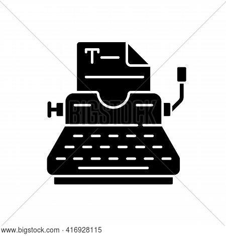 Typewriter Black Glyph Icon. Copywriting Services. Professional Journalism. Printing Sheets. Typing