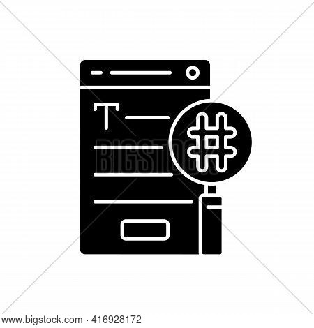Seo Copywriting Black Glyph Icon. Search Engine Optimization Service. Commercial Text With Hashtags,