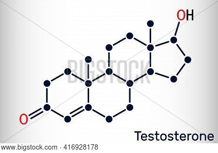 Testosterone, Testosteron Molecule. It Is Androgenic Steroid Sex Hormone. Skeletal Chemical Formula.
