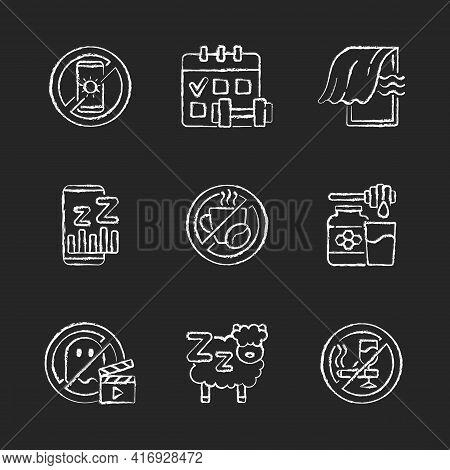 Insomnia Reasons Chalk White Icons Set On Black Background. No Device Before Bedtime. Sleep Hygiene