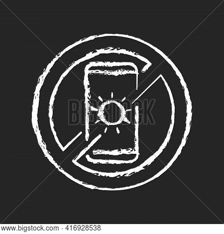 No Devices Chalk White Icon On Black Background. Digital Detox. Avoid Bright Mobile Screen Before Be