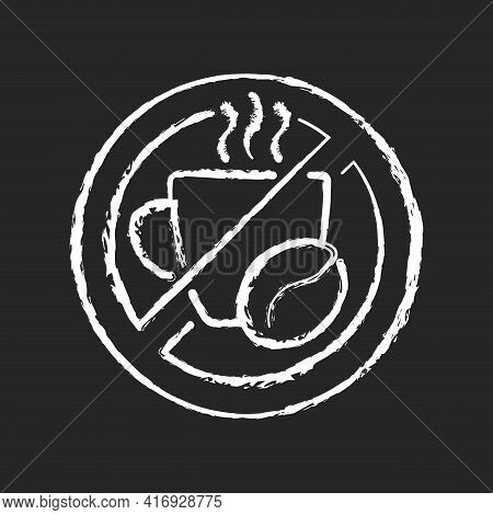 No Caffeine Chalk White Icon On Black Background. Limit Coffee Intake. Dietary Drink. Avoid Unhealth
