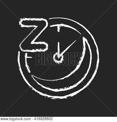 Regularity Chalk White Icon On Black Background. Sleep Schedule. Nighttime On Clock. Bedtime On Watc