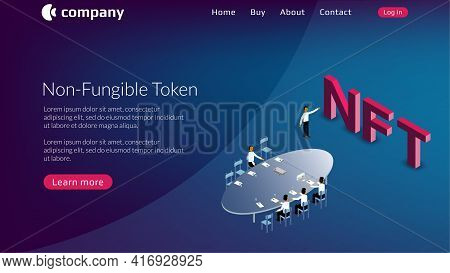 Nft Non Fungible Token Website Template With Board Of Directors And Isometric Text On Blue Backgroun