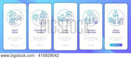 Customer Rights Violation Onboarding Mobile App Page Screen With Concepts. Fake Products, Contract W