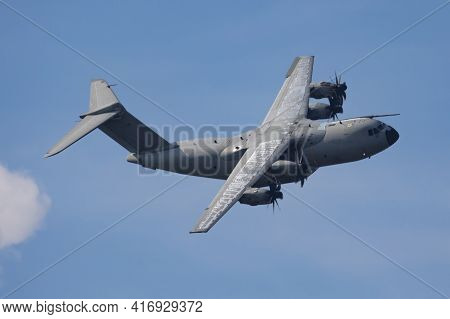 Untitled Airplane. Military Transport Plane. Aircraft Without Title At Airport. Aviation Theme. In F