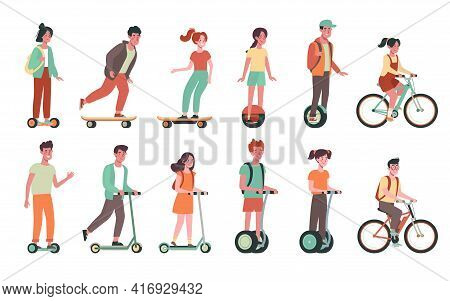 Children Ride Bicycles, Skateboards, Scooters, Gyroboards. Flat Vector Set With Childs On Electric T