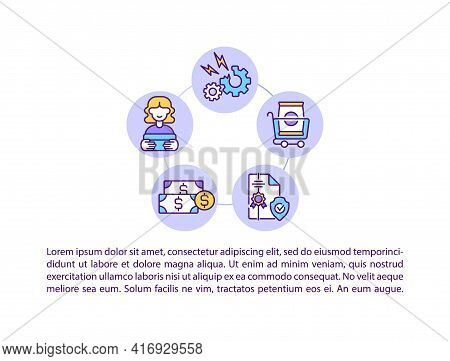 The Right To Seek Redressal Concept Line Icons With Text. Ppt Page Vector Template With Copy Space.