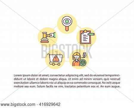 Take Legal Actions Concept Line Icons With Text. Ppt Page Vector Template With Copy Space. Brochure,