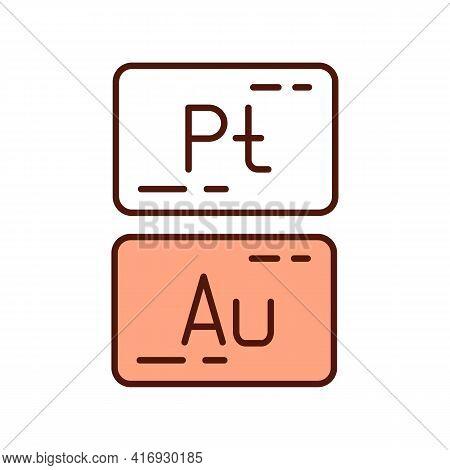 Precious Metals Rgb Color Icon. Platinum, Silver, Gold. Financial Asset. High Economic Value. Mining