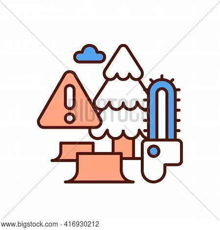 Deforestation Rgb Color Icon. Clearcutting. Permanent Trees Removal. Forest Destruction And Degradat