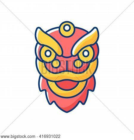 Dragon Dance Rgb Color Icon. Chinese New Year. Spring Festival. Rhythmic Movement. Expressing Gratit