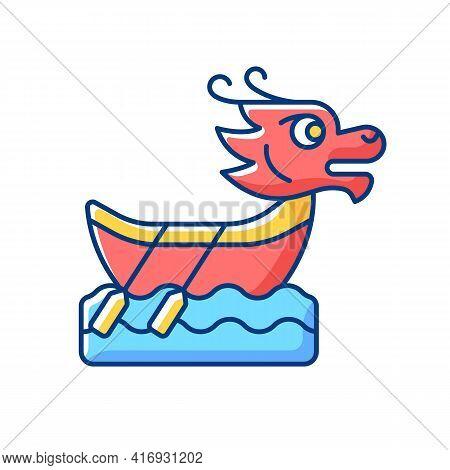 Dragon Boat Festival Rgb Color Icon. Tuen Ng. Ornately Carved Boats. Sacred Ceremony. Cultural Activ