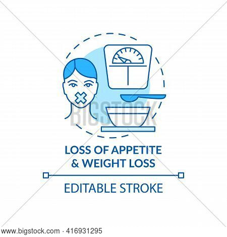 Appetite And Weight Loss Concept Icon. Liver Disease Symptom Idea Thin Line Illustration. Illness Ma