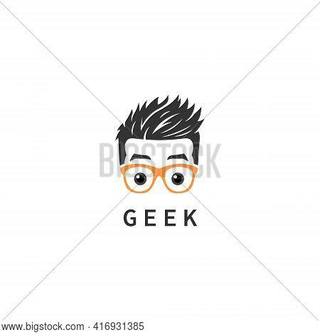 Geek Man Logo Symbol Design Template Flat Style Vector