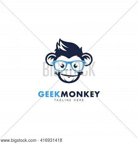 Geek Monkey Logo Symbol Design Template Flat Style Vector