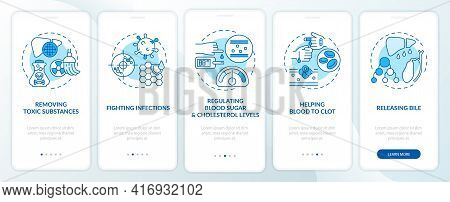 Hepatic Functions Onboarding Mobile App Page Screen With Concepts. Fighting Illnesses, Blood Clots W