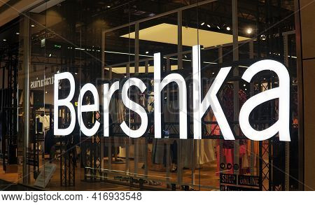 Moscow Russia - April 10 2021: Bershka Store Logo In A Fashion Store.