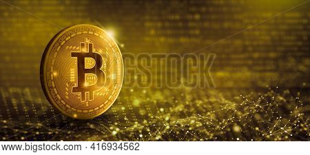 Gold Coin Bitcoin On Binary Digital And Network Wireframe Background. Cryptocurrency And Blockchain