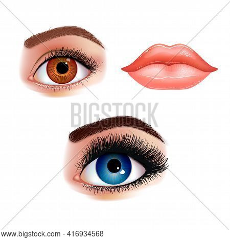 Set Of Beautiful Female Eyes With Extended Eyelashes And Shining Mouth With Glossy Lips. Realistic V