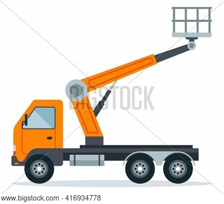 Crane Hoist On A Truck For Work At Height. Special Construction High-rise Equipment. Flat Vector Ill