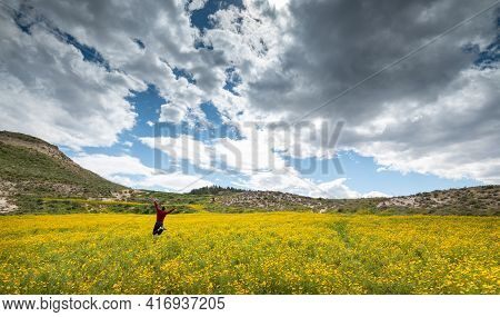 Young Woman Happy With Raised Arms In The Field With Yellow Marguerite Flowers In Spring