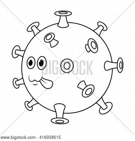 Covid 19 Virus Line. Cute Beautiful Cartoon Coronavirus Icon With Green Face.