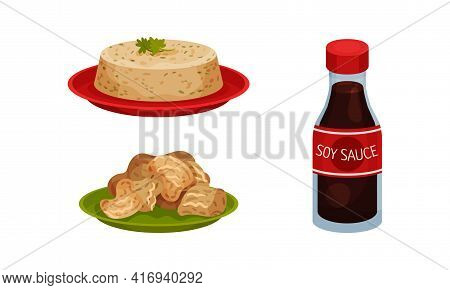 Soy Meat And Tofu Cheese On Plate With Soy Sauce In Bottle Vector Set