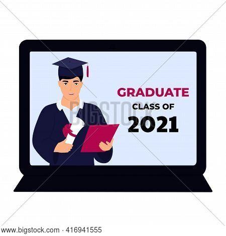 Graduate Student In Gown And Mortarboard Celebrate Graduation During Coronavirus Quarantine. Virtual
