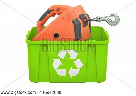 Recycling Trashcan With Electric Winch. 3d Rendering Isolated On White Background